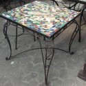 Mesa de forja con mosaico,gran variedad en tamaños y diseños