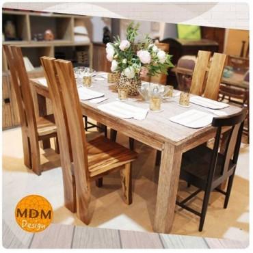 Conjunto mesa y sillas madera maciza