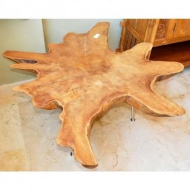 Mesa baja de tronco de madera