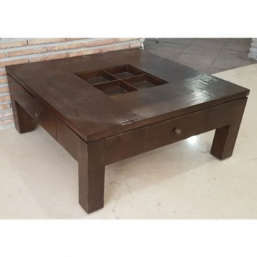 Mesa baja cuadrada con cajones
