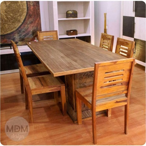 Mesa de madera con 2 patas