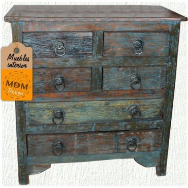 Mueble 6 cajones tonos azules